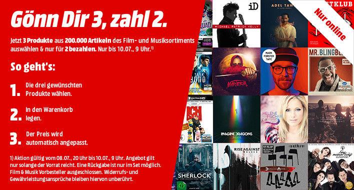 [Mediamarkt] Gönn dir 3, zahl 2! (Film + Musikaktion)