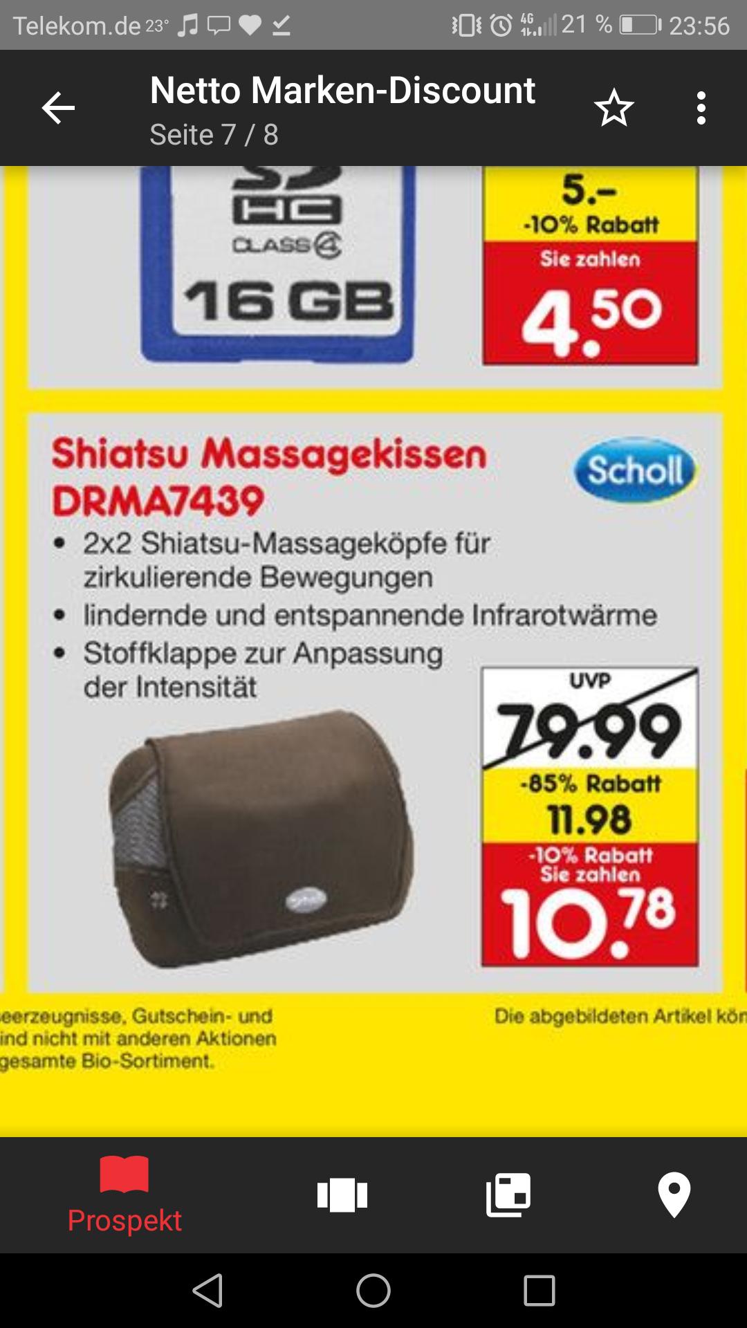 (lokal Essen) Scholl DRMA7439E Shiatsu Massagekissen für 10.78 EUR
