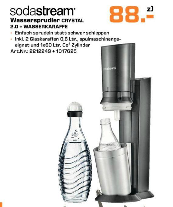 [Saturn ] SODASTREAM Crystal 2.0, Wassersprudler, Titan inc. 2 Glaskaraffen und Co² Zylinder für 88,-€