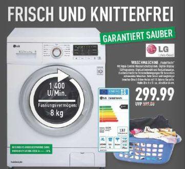 [Marktkauf Rhein-Ruhr] LG Waschmaschine 8kg, 1400U/min, A+++ für 299€ (Idealo ab 348€)
