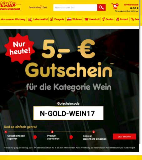 5 € Gutschein für Wein beim Netto Online-Shop