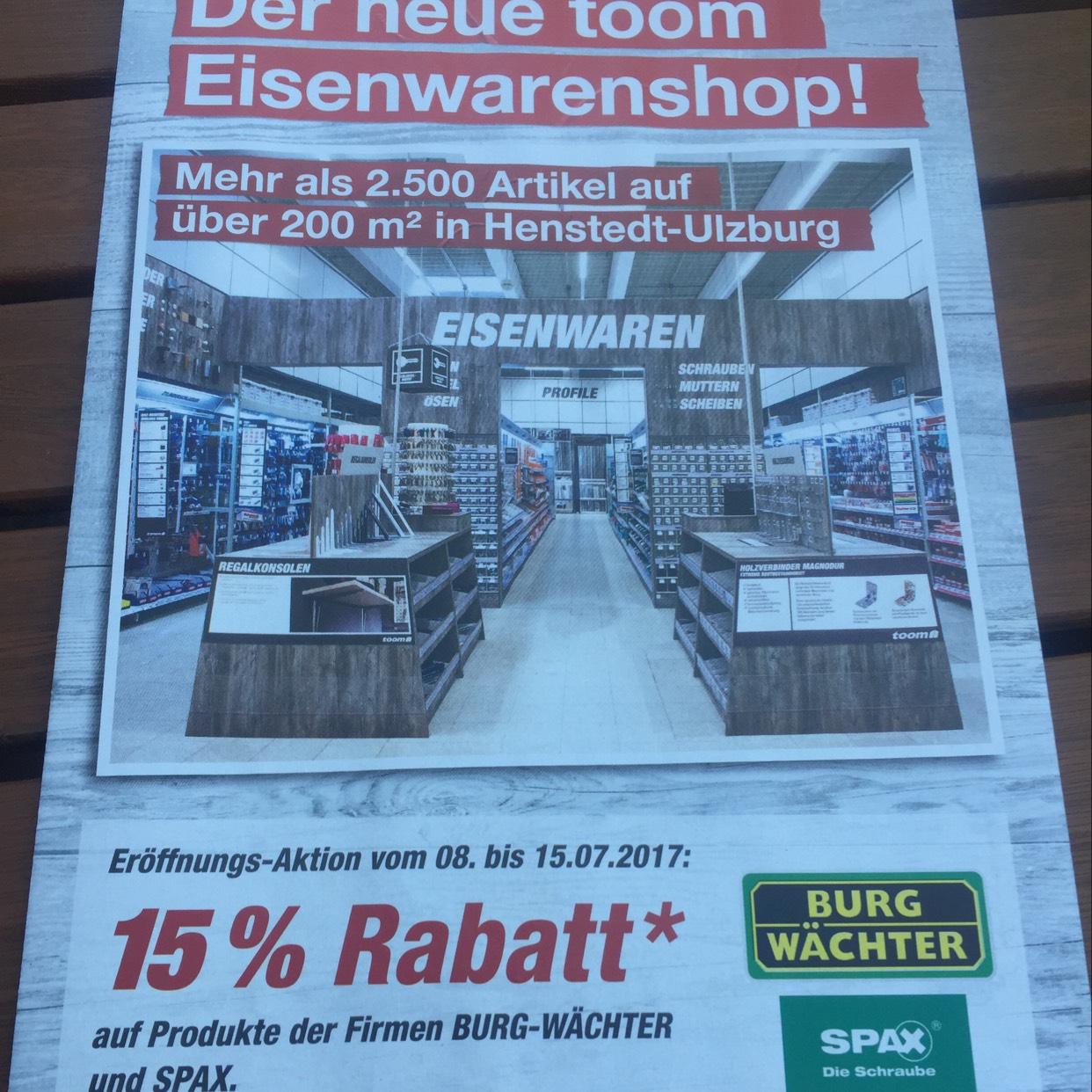 Toom Henstedt-Ulzburg 15% Rabatt auf Burgwächter & Spax