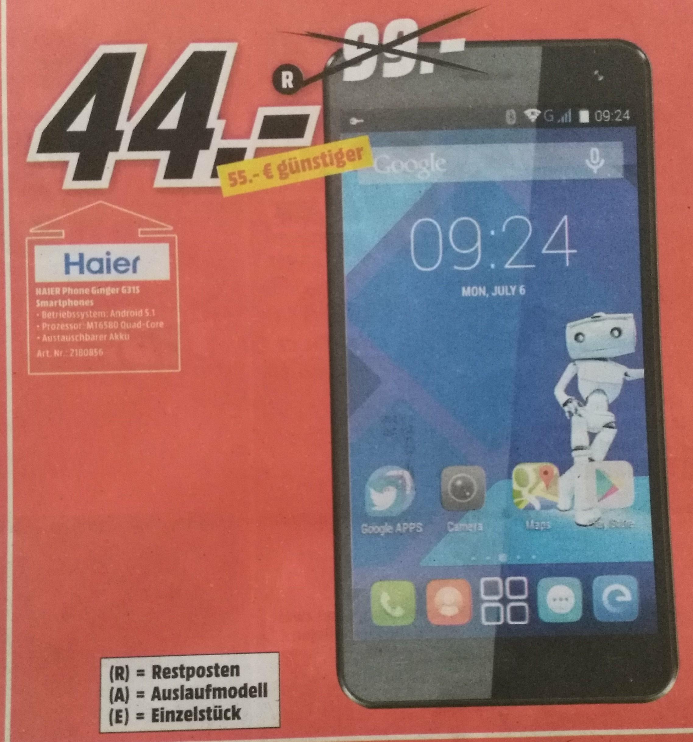 [Offline] [MediaMarkt Frankfurt NWZ] HAIER Phone Ginger G31S Smartphone Android 5.1 MT6580 Quad-Core