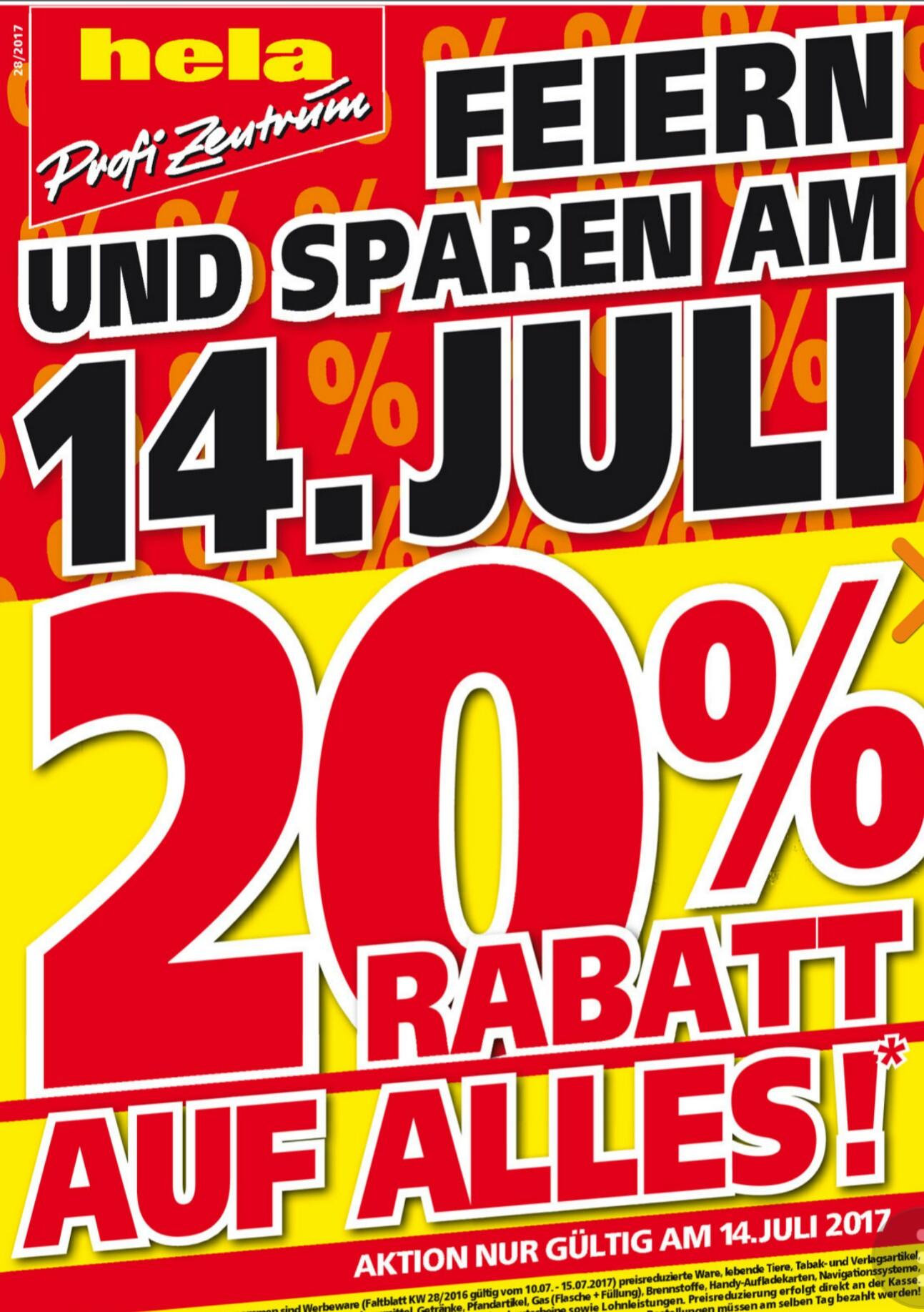 [lokal] Nur am 14.7.2017: 20% Rabatt auf alles bei Hela Baumarkt Müllheim, evtl auch andere Standorte