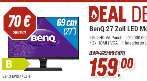 [Notebooksbilliger] BenQ EW2775ZH 68,58 cm (27 Zoll) Eye-Care Monitor (1920 X 1080 Pixel, LED, Full HD, Slim Bezel, AMVA+ Panel) schwarz für 163,99€