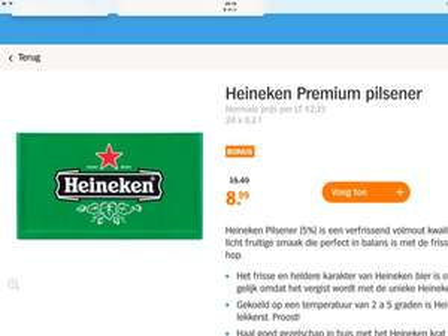 Heineken 8,99 €   24x 0,3 l eventuell für Grenzgänger interessant.