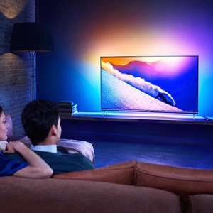 Philips 55PUS7101 Ultra HD 4K LED Fernseher mit Ambilight (3-seitig), Android TV [Prime exklusiv]