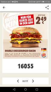 (Burger King app) Double Cheeseburger Bacon für 2.49 EUR