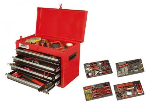 Mannesmann 28261 Bestückte Werkstattbox (155 Teile) oder 5 teiliges Werkzeugset von Kinzo inkl. Bohrmaschine, Stichsäge, Akkuschrauber, Winkelschleifer, Schleifer für je 51,98€ @ DC
