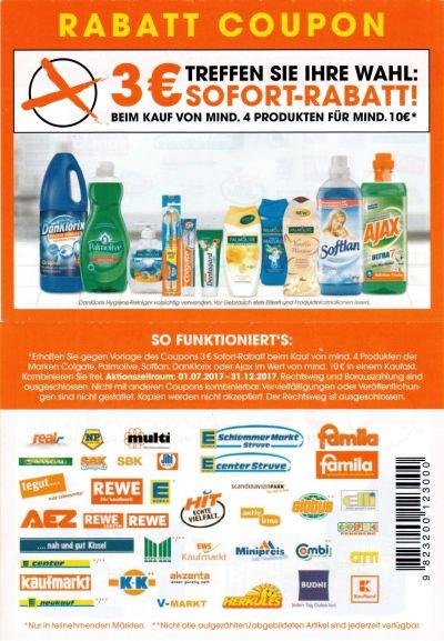 Palmolive Ajax Colgate Dan Klorix 3 Euro Coupon beim Kauf von 4 Produkten für mindestens 10 Euro