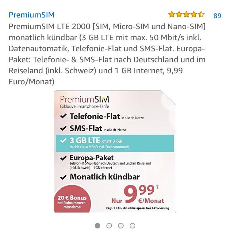 Premiumsim 3 GB statt 2 GB für 9,99€/ Monat @amazon PrimeDay