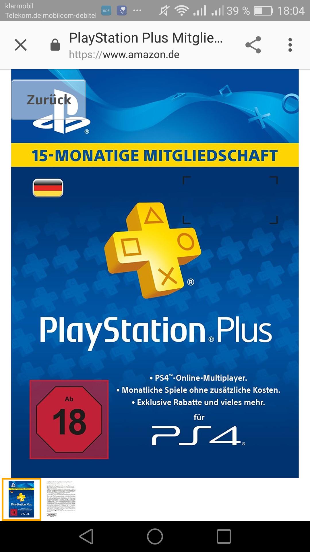 PlayStation Plus Mitgliedschaft 15 Monate [Amazon Prime Day]