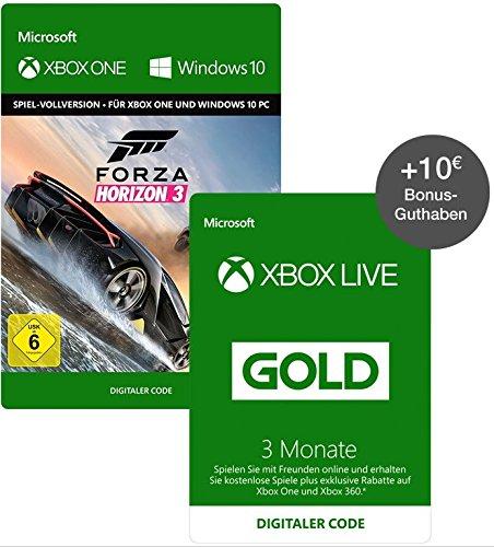 Forza Horizon 3 (Xbox One/PC Digital Code Play Anywhere) + 3 Monate Xbox Live Gold + 10€ Xbox Live Guthaben für 44,49€ (Amazon Prime Day)
