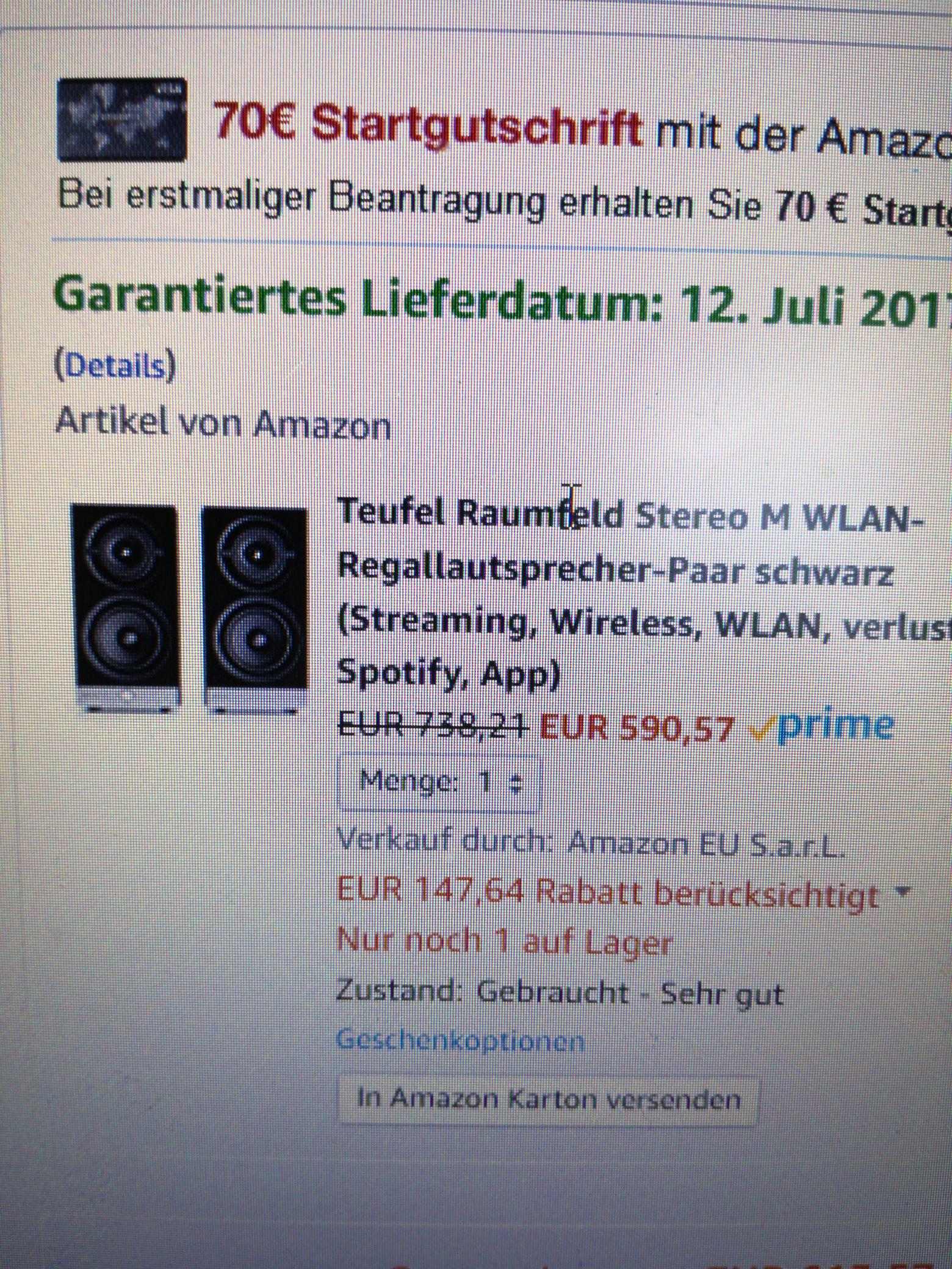 Amazon Prime Day:(whd sehr gut)Raumfeld Stereo M,Zustand gut noch günstiger