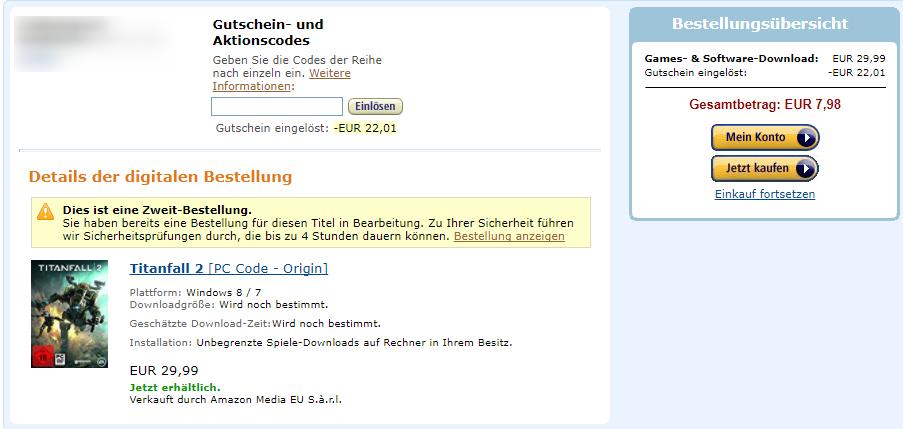 [Preisfehler]Exklusiv für Prime Titanfall 2 (PC/Origin Key) für 7.98€