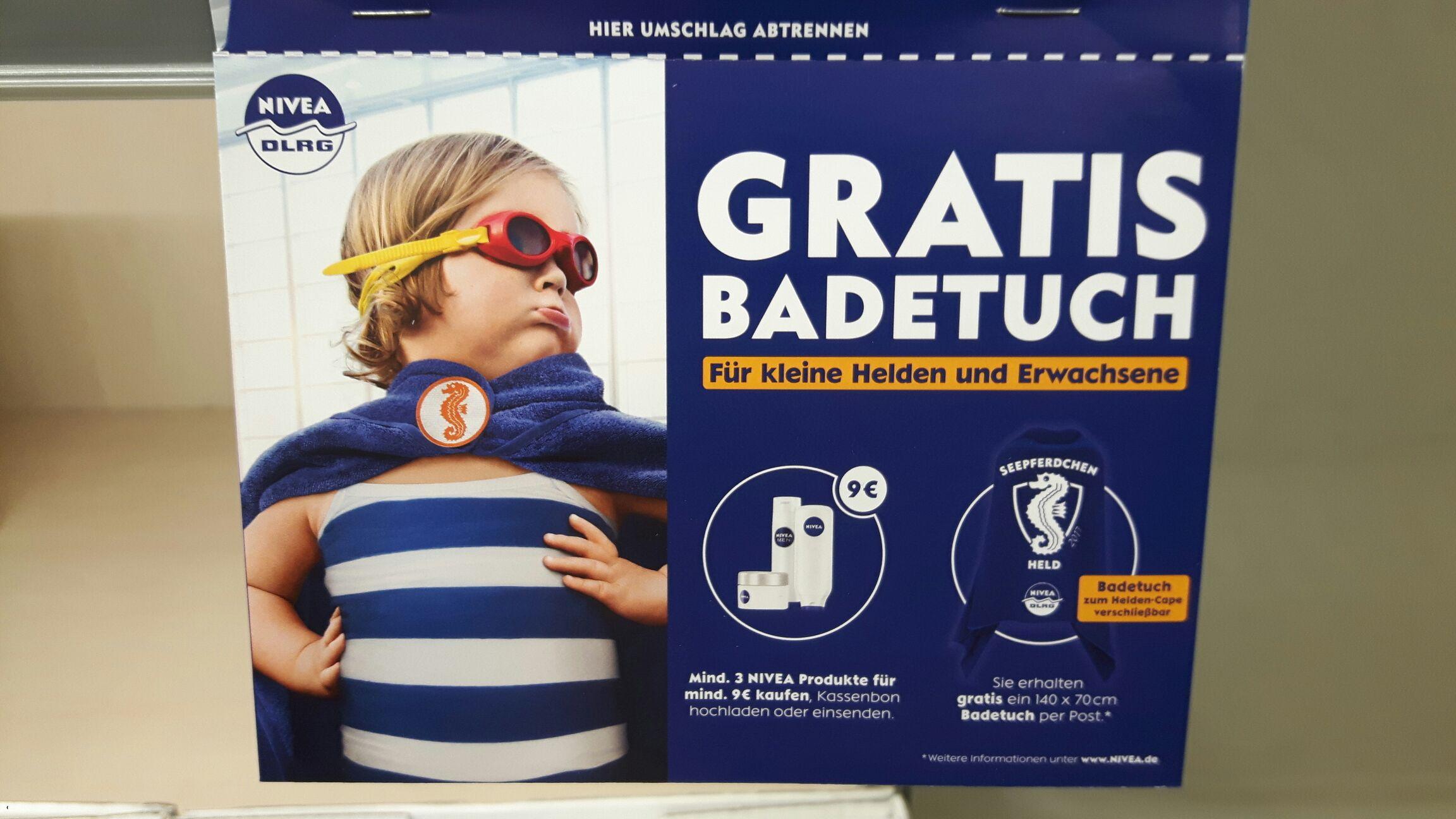 NIVEA gratis DLRG Badetuch beim Kauf von mind. 3 Nivea Produkten (Mindestwarenwert 9€)