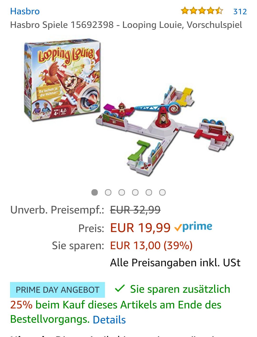 Hasbro Spiele 15692398 - Looping Louie, Vorschulspiel (Prime Day) Preisfehler ? Prozente werden doppelt abgezogen!