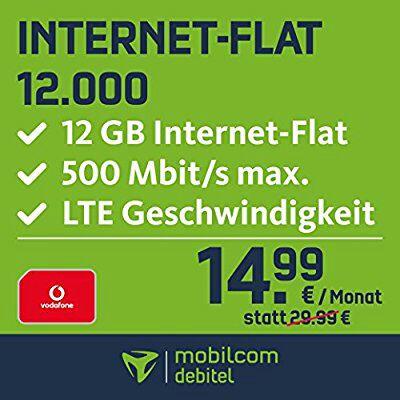 Vodafone Data Go L 12GB 500Mbit 24Monate 14,99€/Monat direkt auf der Rechnung Mobilcom debitel