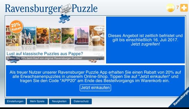 20% auf erwachsenen Puzzles bei Ravensburger
