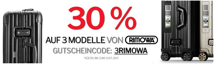 Bis zu 311,70€ auf Rimowa Koffer sparen mit 30% Rabattcode