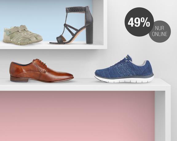 49% Rabatt + 10% NL-Rabatt auf ALLE Schuhe bei Galeria Kaufhof - nur heute, nur online!