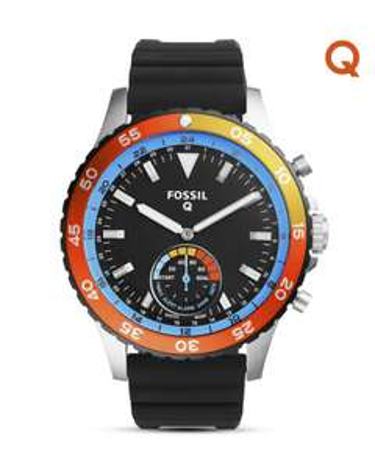 [valmano] FOSSIL Uhr Q Hybrid-Smartwatch Q Crewmaster FTW1124 (wasserdicht bis 5 ATM, Edelstahlgehäuse, Silikonarmband, Aktivitätstracker) 20% unter Idealo