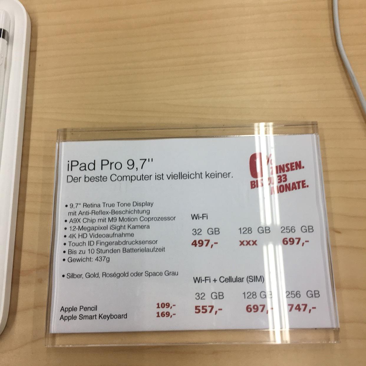"[Lokal MediaMarkt Essen ] iPad Pro 9,7"" verschiedene Varianten"