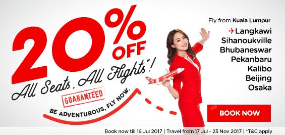 20% Rabatt auf alle Air Asia Flüge