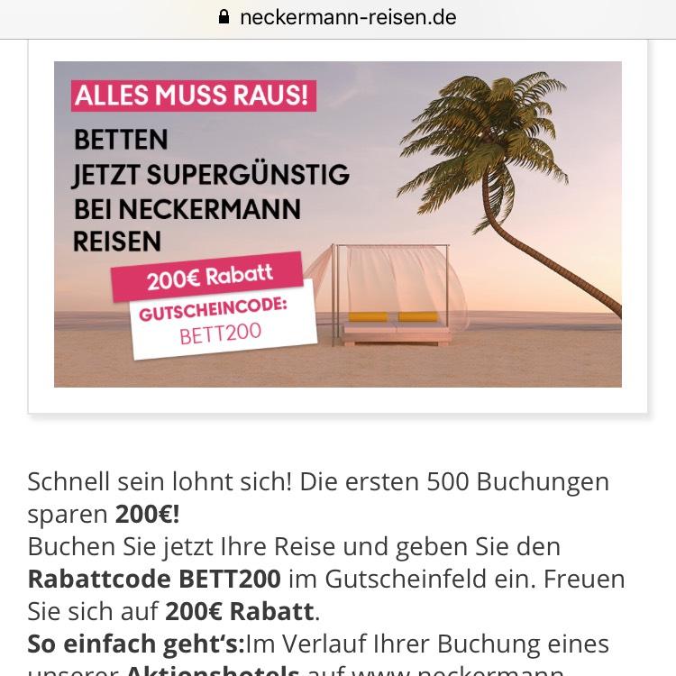 200€ Gutschein auf ausgewählte Hotels