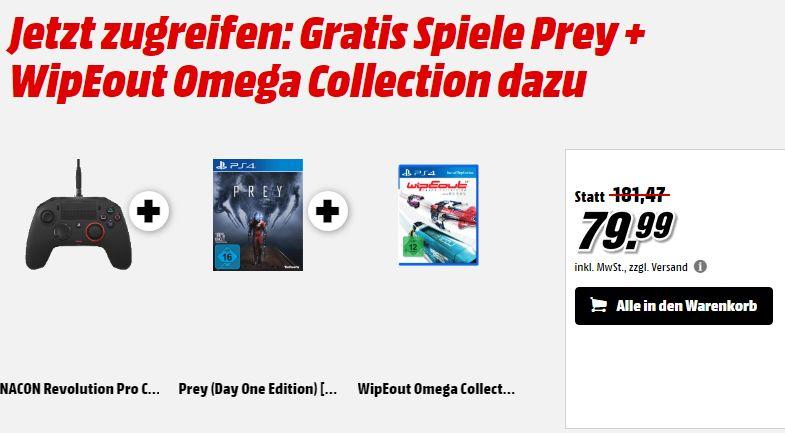 NACON Revolution Pro Controller für PS4 + Prey + WipEout Omega Collection für 79,99€** Über Shoop noch zusätzlich 3% und ein 5,-€ Gutschein [Mediamarkt GDD]