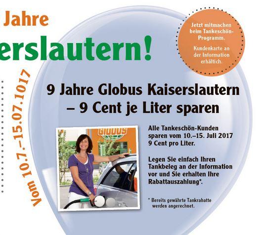 [Lokal] Globus Kaiserslautern: 9ct/Liter beim Tanken sparen