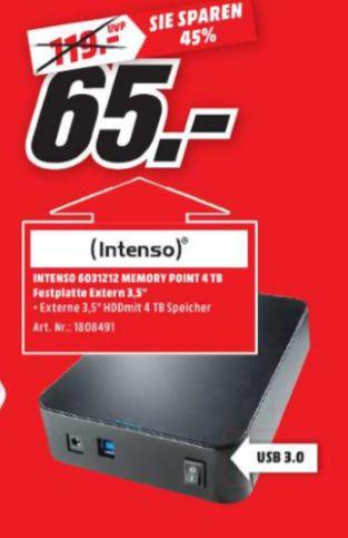 [Lokal Mediamarkt Buxtehude] INTENSO Externe Festplatte 3.5 Zoll Memory Point 4 TB, USB 3.0 Extern für schlappe 65,-€