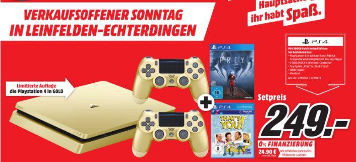 [Lokal Mediamarkt Leinfelden-Echterdingen Tagesangebot nur am 16.07] SONY PlayStation 4 500 GB Gold inc. 2Controller +Prey + That's you! für 249,-€