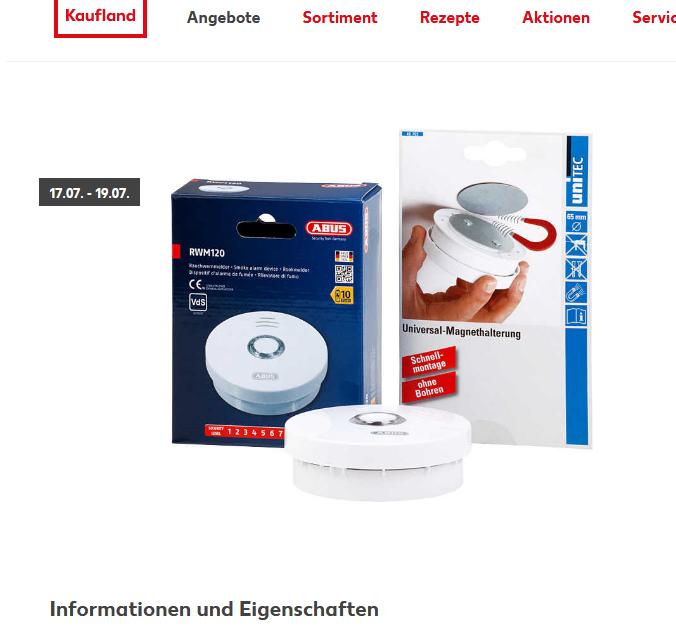 ABUS Rauchmelder Rauchwarnmelder Rauchalarm 10-Jahres Batterie RWM120 @ Kaufland bundesweit (17.07. - 19.07.)