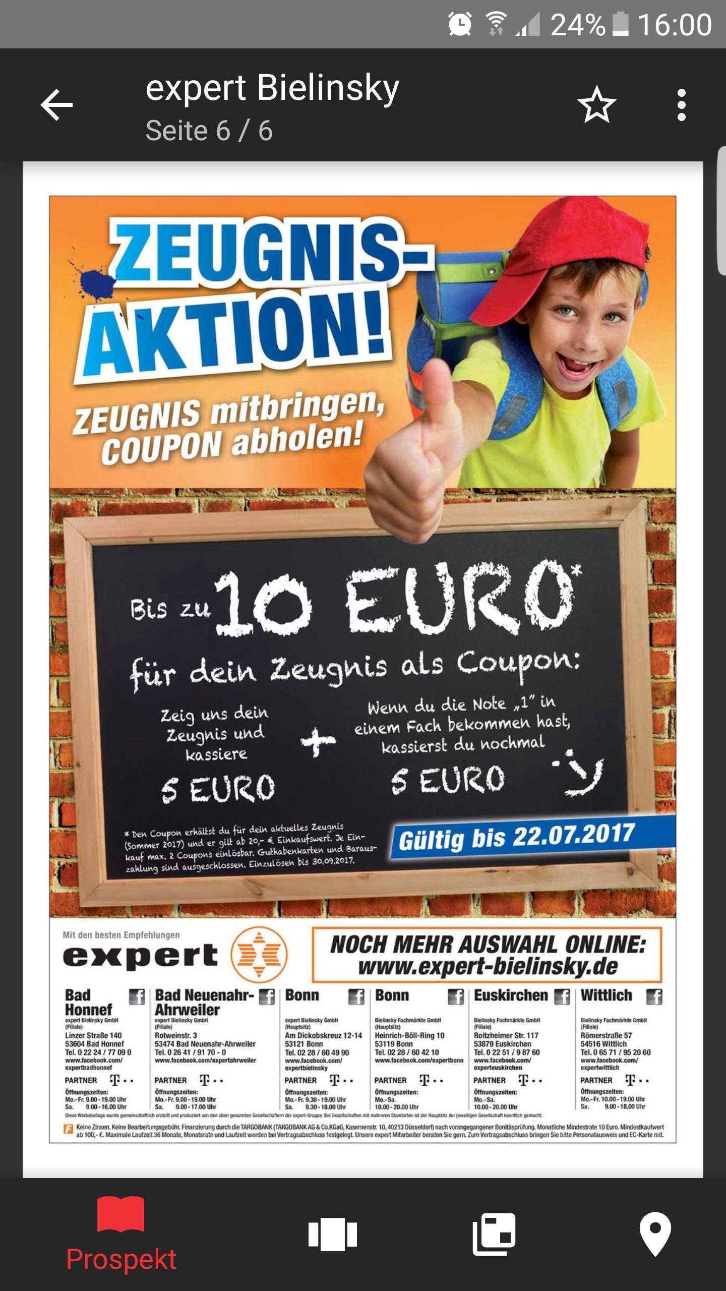 [Expert Lokal] 10 Euro Coupon bei einer 1 auf dem Zeugnis