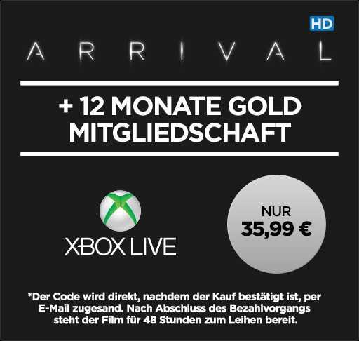 12 Monate Xbox Live Gold + »Arrival« (HD-Leihfilm) für 35,99€ [Wuaki]