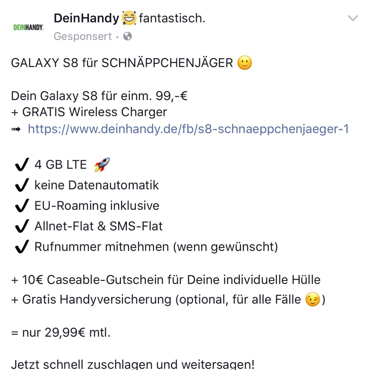 Samsung S8 einmalig für 99€ danach 29,99€ monatlich