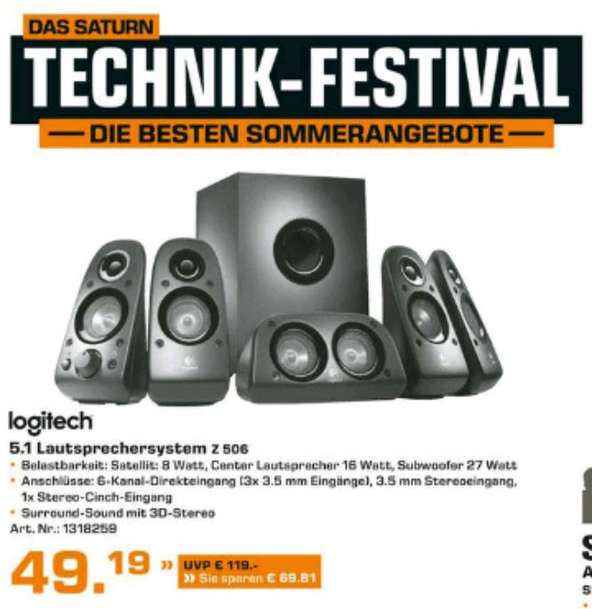 Saturn (Baden-Württemberg): Z506 5.1 Anlage für 49,99€
