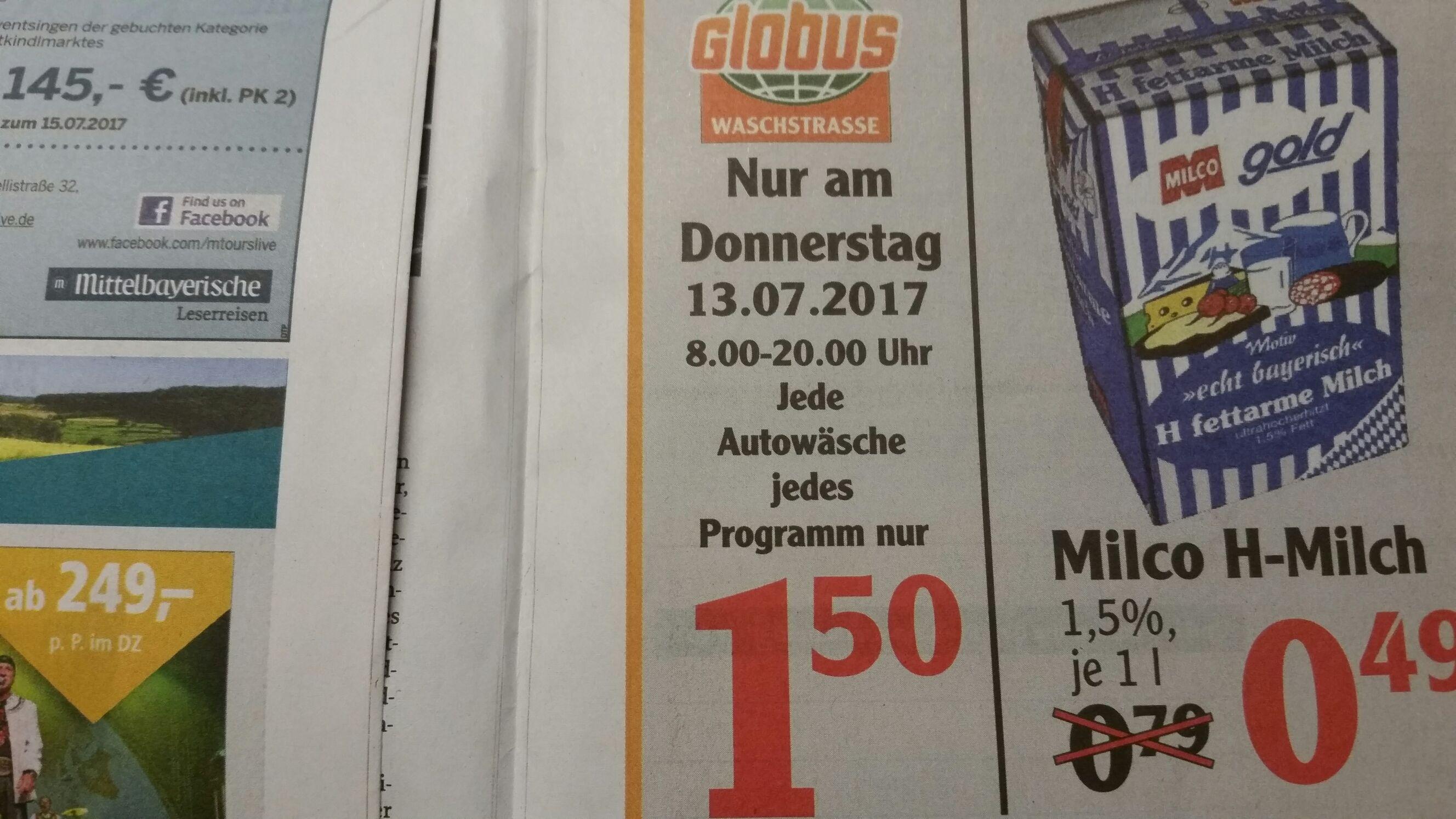 Am 13.07.17 jede Autowäsche, jedes Programm nur 1.50 Euro bei der Globus Waschstrasse in Schwandorf