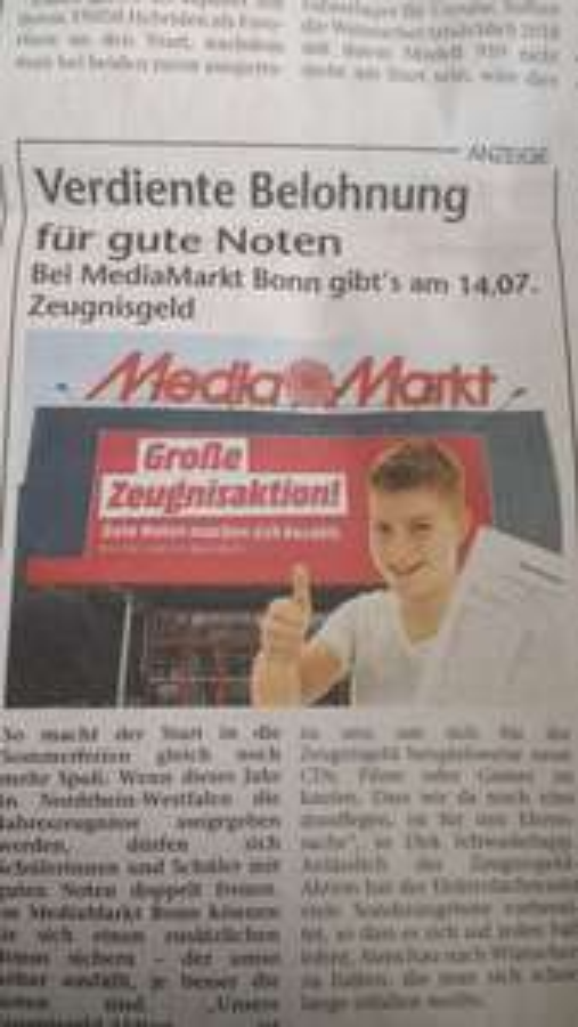Lokal Bonn: MediaMarkt Zeugnisgeld: 2€ je Eins und 1€ je Zwei