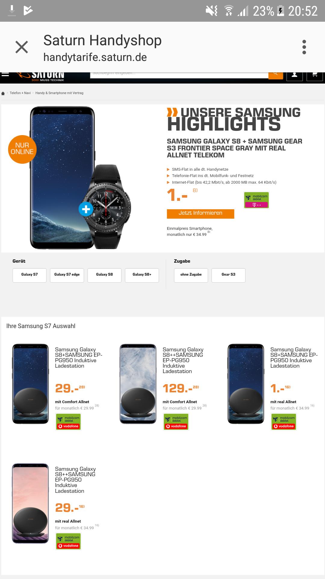 Samsung S8 + Gear S3 im Telekom Vertag