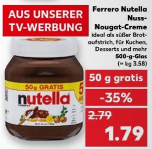 (Kaufland bundesweit ab 20.7.17) Nutella 500 gr Glas für 1,79 €