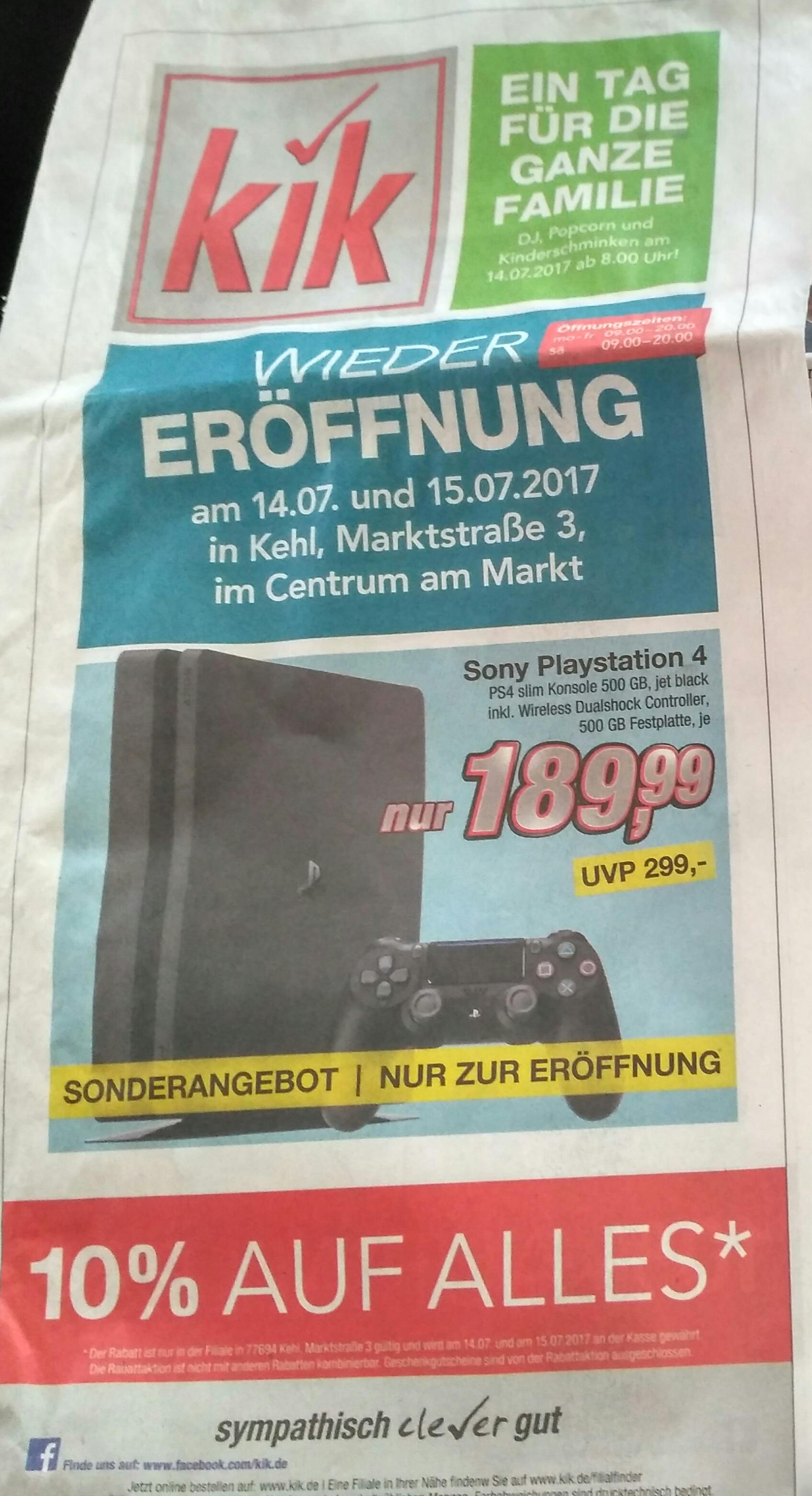 (Lokal) Sony Playstation 4, PS4 slim Konsole 500 GB in Kehl wegen Wiedereröffnung bei KIK. Nur am 14.07 und 15.07