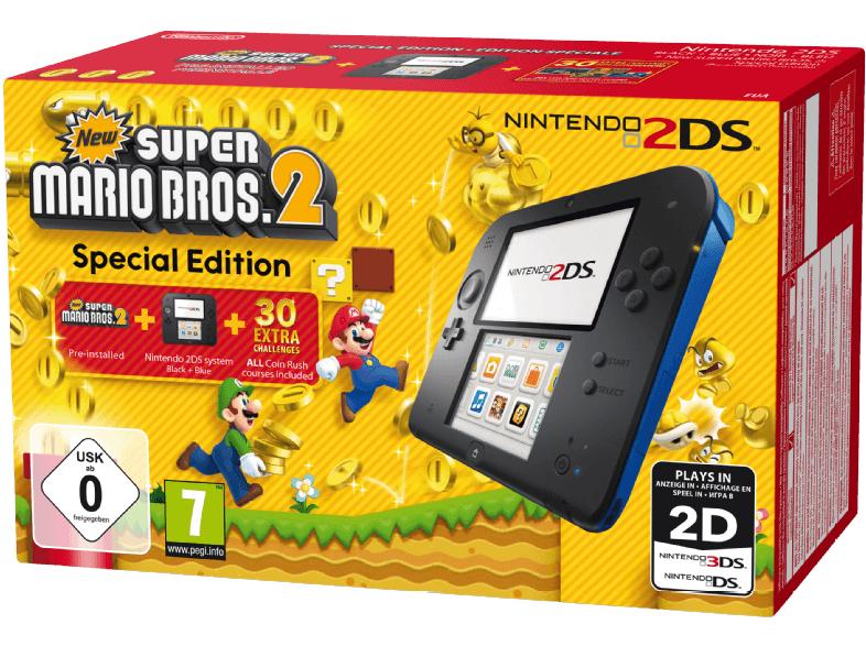 NINTENDO 2DS Schwarz/Blau + New Super Mario Bros. 2 (Special Edition) für 69,-€ versandkostenfrei [Mediamarkt]