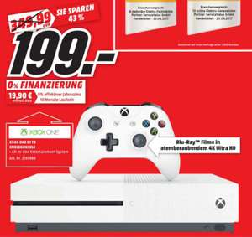 [Lokal Mediamarkt Amberg/Weiden] Xbox One S 1TB, 4K Ultra HD, Weiß für 199,-€