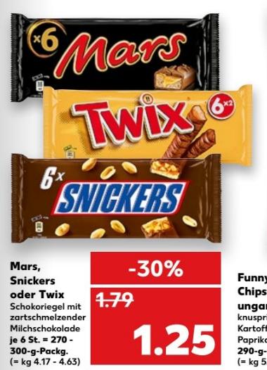 Kaufland  Snickers, Mars oder Twix 100g= 42 bis 46cent