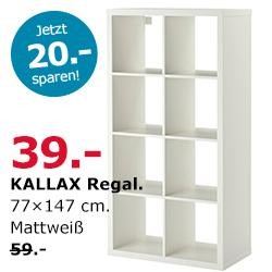 {IKEA Hamburg} KALLAX Regal 2x4 für 39,- statt 59,-