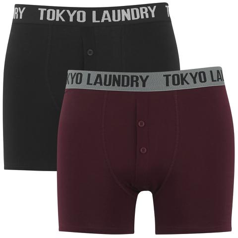 [Schmale Backen Schnapper] Tokyo Laundry 2 Stk. Button Boxers - Black/Oxblood - nur Gr. S -> 12 Stk. 22,32€ -> 1,86€ pro Stk.