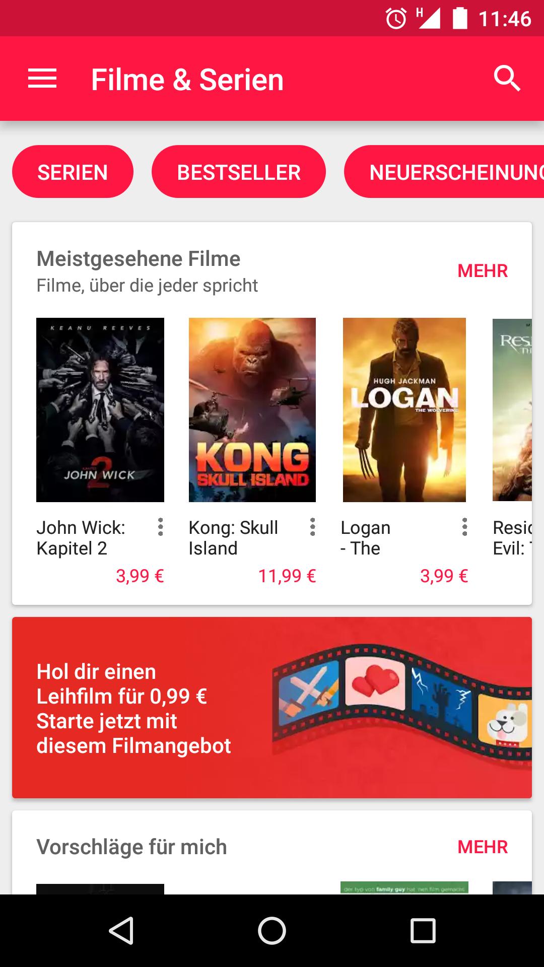 Leihfilm für 0,99 € in Google Play Filme & Serien
