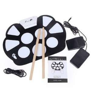 [Amazon.de] Roll Up Drum Pad mit Sticks, Pedale und USB Kabel - Elektronisches Musikinstrument